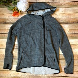 PINK off center zip up grey hoodie long sleeve